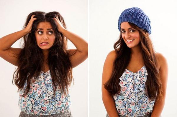 <p> Còn khi nghĩ mãi không ra kiểu tóc gì, hãy đội một chiếc mũ vào.</p>