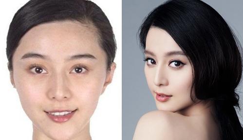 <p> Phạm Băng Băng để lộ đôi mắt hơi nhỏ và xếch khi không makeup. Bù lại cô có làn da trắng mịn màng.</p>