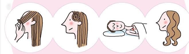 <p> <strong>Tóc xoăn sóng nước:</strong><br /> - Chia tóc thành nhiều lọn nhỏ.<br /> - Xoắn tròn từng lọn tóc theo hình ốc.<br /> - Cố định lại bằng cặp tăm.<br /> - Sáng thức dậy, sau khi tháo cặp tăm, bạn sẽ có được mái tóc xoăn sóng nước tự nhiên tuyệt đẹp.</p>