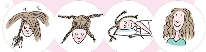 <p> <strong>Tóc xoăn xù mì:</strong><br /> - Chia tóc làm 4 phần nhỏ.<br /> - Tết đuôi sam từng lọn, từ chân tóc đến ngọn tóc. Tết vừa phải, không quá lỏng cũng không quá chặt để không làm đau tóc.<br /> - Sáng thức dậy, bạn sẽ có kiểu đầu xoăn xù mì mà không cần mất thời gian dùng máy uốn.</p>