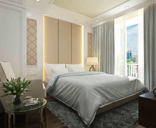 Phòng ngủ dành cho khách hoặc bố mẹ, người thân của Phi Thanh Vân đến chơi ở lại. Căn hộ có nhiều cửa sổ với tầm nhìn đẹp, thoáng mát.