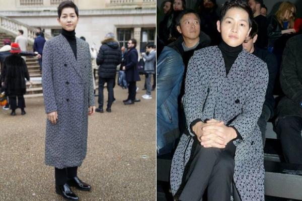 Tài tử Hàn diện long vest của thương hiệu Dior. Mặc dù cùng Song Joong Ki sang Pháp nhưng Song Hye Kyo không đồng hành với anh trong sự kiện ngày 20/1, cô sẽ dự hoạt động của thương hiệu Christian Dior vào 22/1 tới.