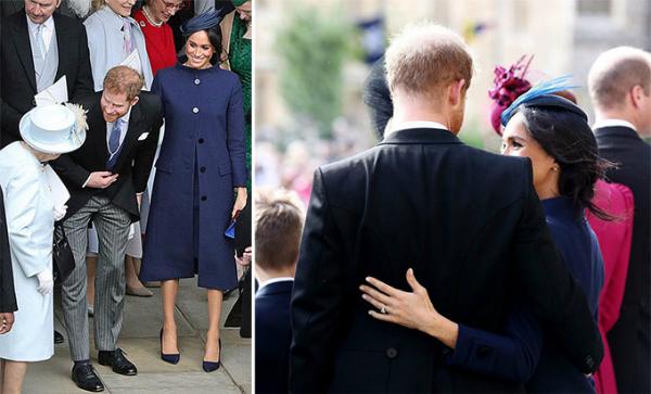 Vợ chồng Harry - Meghan hào hứng tiếp chuyện Nữ hoàng và ôm lấy nhau sau khi rời nhà nguyện St. George, lâu đài Windsor hôm 12/10. Ảnh: UK Press.