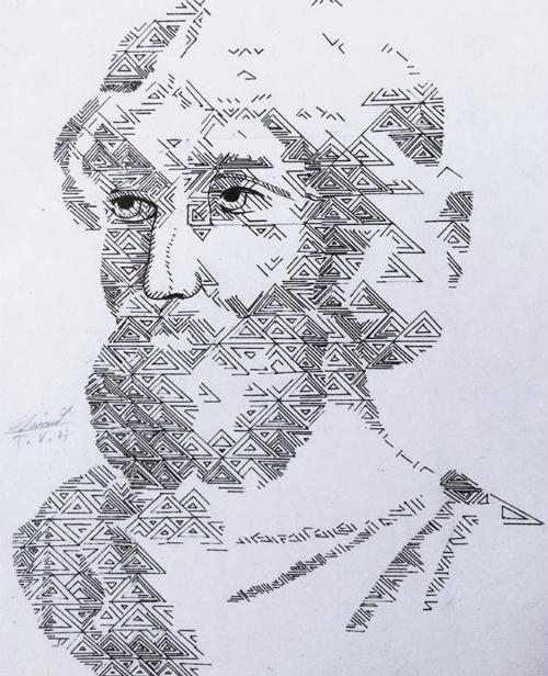Chân dung nhà toán học Pitago được vẽ từ nhiều hình tam giác.