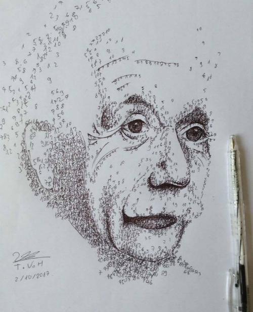 Chân dung nhà Vật lý nổi tiếngAlbertEinsteinđược vẽ từ các con số.