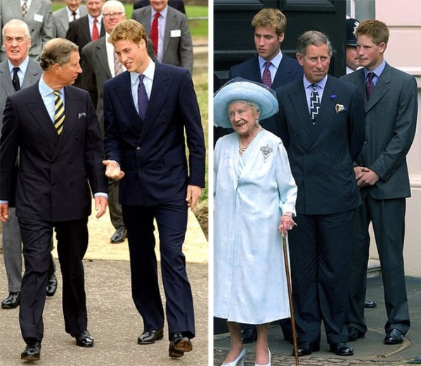 Hoàng tử William và Thái tử Charles ở Galsgow (trái) và Thái tử Charles cùng hai con trai ở London (phải) năm 2001. Ảnh: UK Press.