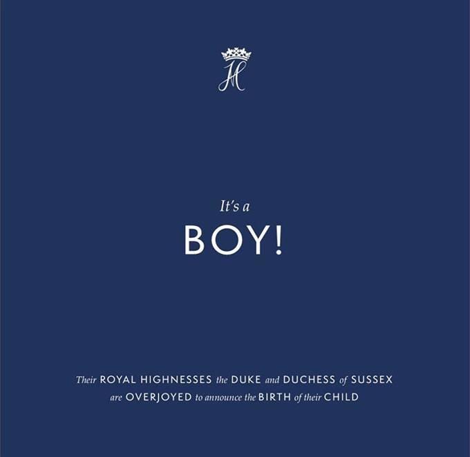 Dòng thông báo về sự chào đời của con trai Harry - Meghan trên Instagram.