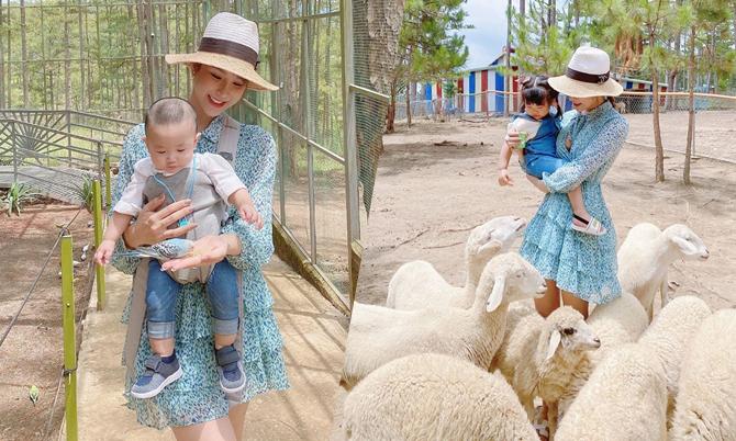 Mẹ con Diệp Lâm Anh khám phá vườn thú Đà Lạt