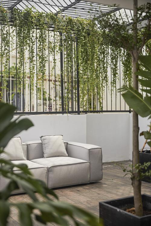 Nhóm KTS bố trí nhiều cây để xanh hóa không gian sống, tạo thành chốn lý tưởng để cặp vợ chồng cảm nhận sự an yên khi về tới nhà.