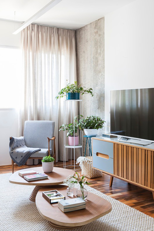 Phòng khách có bàn trà thấp, có kệ đặt cây cảnh giúp không gian trở nên sinh động.