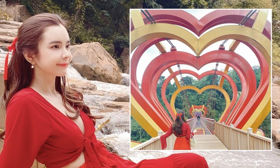 Hoa hậu Huỳnh Vy khám phá cầu kính tình yêu ở Sơn La