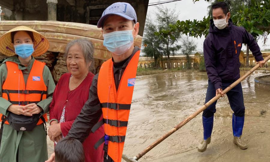 Lý Hải - Minh Hà giúp dân miền Trung dọn bùn non sau lũ