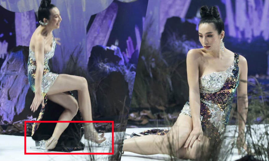 Mẫu chuyển giới ngã vì giày cao 20 cm