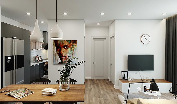 Bắt đầu từ không gian chung, phòng khách được thiết kế thông với phòng bếp, giúp kết nối sinh hoạt của mỗi thành viên lại với nhau. Được ưu ái một phần lớn diện tích trung tâm trong ngôi nhà, không gian chung cho cả gia đình không quá rộng nhưng được sắp xếp gọn gàng, vừa vặn với nhu cầu sử dụng.