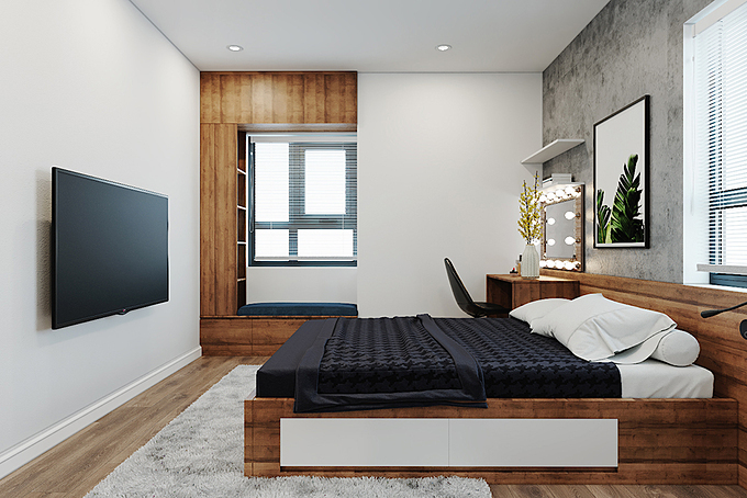 Bên cạnh các khu vực sinh hoạt chung ấm cúng, căn hộ cũng sở hữu 2 phòng ngủ mang điểm nhấn là nội thất gỗ công nghiệp có thiết kế hiện đại. Với mong muốn tối ưu diện tích sử dụng, gia chủ lựa chọn các đồ nội thất hai trong một như tủ gỗ đa năng có kệ trang trí hay giường hộp có ngăn kéo.
