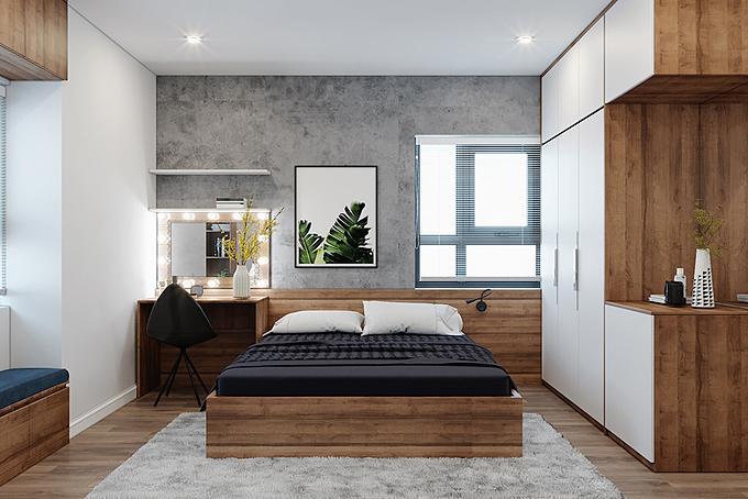 Phòng ngủ master với điểm nhấn là mảng tường bê tông được tạo thành từ chất liệu sơn.