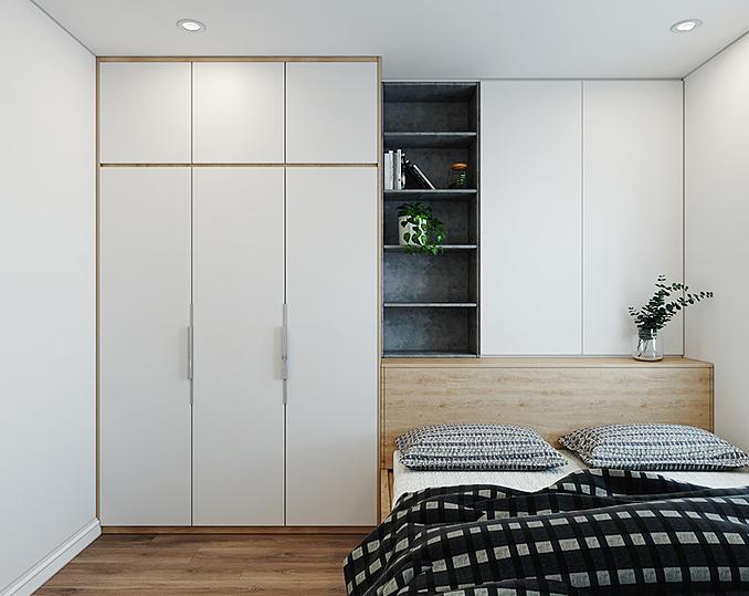 Màu trắng chủ đạo giúp căn phòng nhỏ trở nên thoáng rộng hơn.