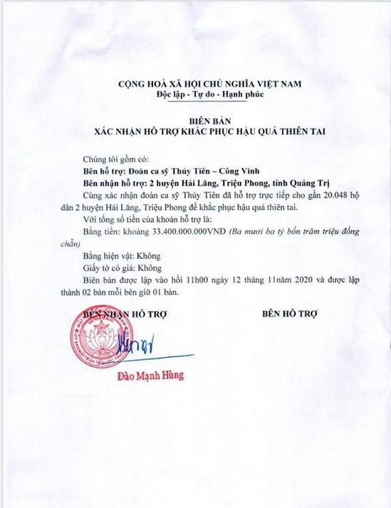 Thuỷ Tiên đăng tất cả các biên nhận của chính quyền địa phương khi nhận tiền lên trang cá nhân để minh bạch tài chính.