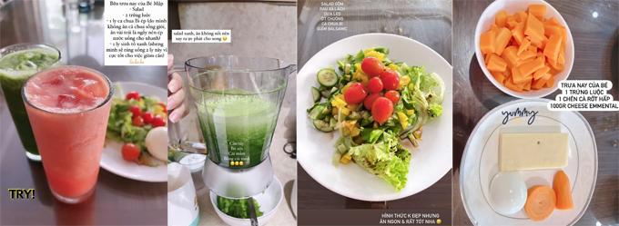 Thực đơn ép cân của Bảo Thy có thành phần chính là các loại rau lá xanh.