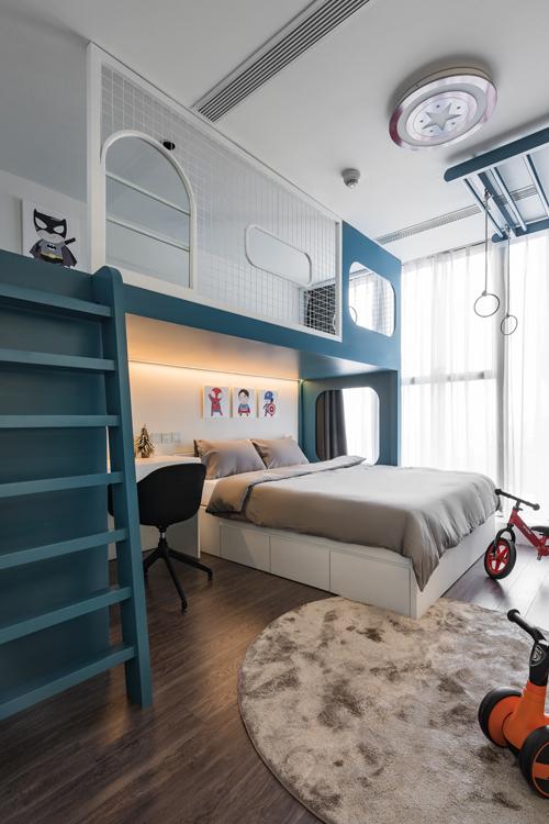 Diện tích sử dụng được tối ưu nhờ tích hợp chỗ chơi với chỗ ngủ của bé.