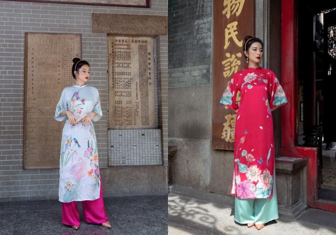Bộ sưu tập Áo dài hương Tết nét Xuân tại Takashimaya năm nay phong phú về màu sắc và đa dạng về kiểu dáng, đáp ứng nhu cầu của chị em. Bên cạnh các thiết kế hiện đại, phom dáng truyền thống cùng các gam rực rỡ cũng được nàng săn đón. Dưới đây là những BST áo dài Tết từ các thương hiệu thời trang tại tầng B1.Trong ảnh, thương hiệu Joven giới thiệu BST Hoa Mùa Xuân với chất liệu lụa hoa và gấm. Giá áo dài từ 790.000 đến 1,49 triệu đồng; quần 400.000 đồng. Ngoài ra từ 22/1 dến 28/1, hãng còn tặng vòng tay phong thủy Joven Jemstone trị giá 180.000-420.000 đồng cho bất kỳ hóa đơn mua áo dài.