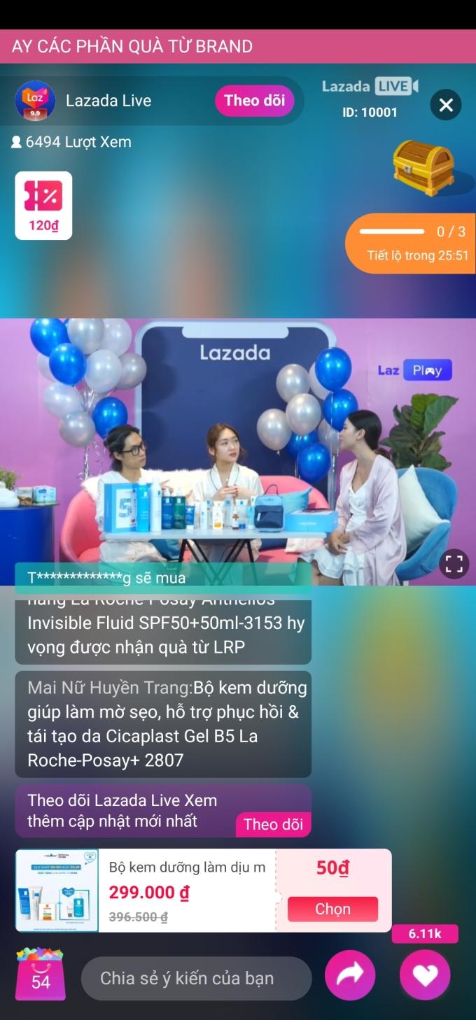 Ảnh chụp màn hình livestream Ngày hội siêu thương hiệu của La Roche Posay trên ứng dụng Lazada. Ảnh: Lazada Việt Nam.