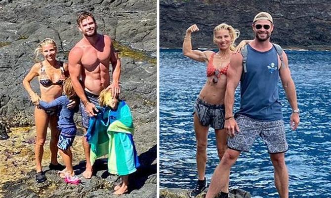 Vợ chồng Chris Hemsworth cùng khoe cơ bắp