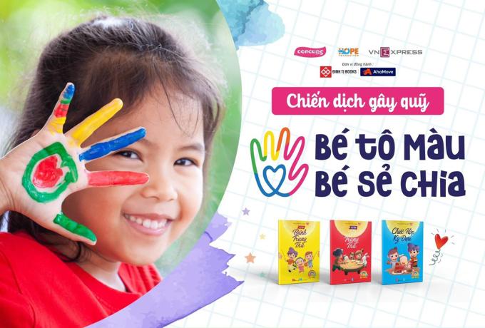 Chiến dịch Bé tô màu, bé sẻ chia sẽ tiếp sức cho những bệnh nhi có hoàn cảnh khó khăn.