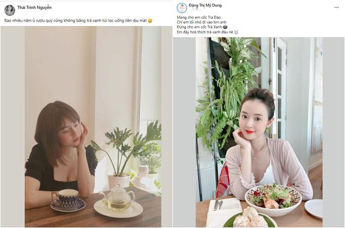 Thái Trinh, Midu nhắc đến trà xanh trên trang cá nhân.