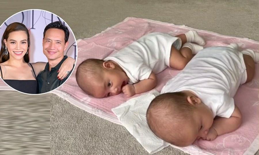 Cặp sinh đôi của Hồ Ngọc Hà tập ngóc đầu