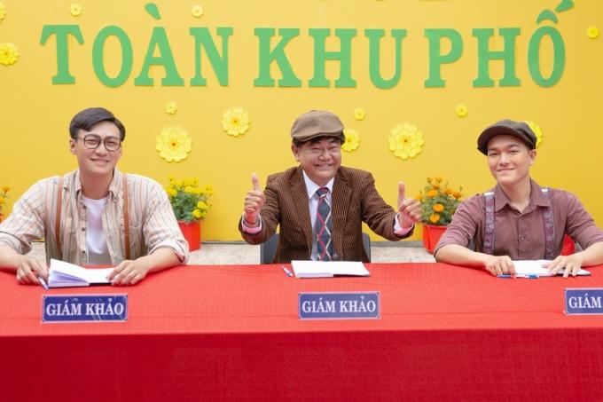 MV còn có sự xuất hiện của nhiều diễn viên, trong ảnh là Mạc Trung Kiên, NSND Việt Anh (từ trái qua), Hoàng Trinh...