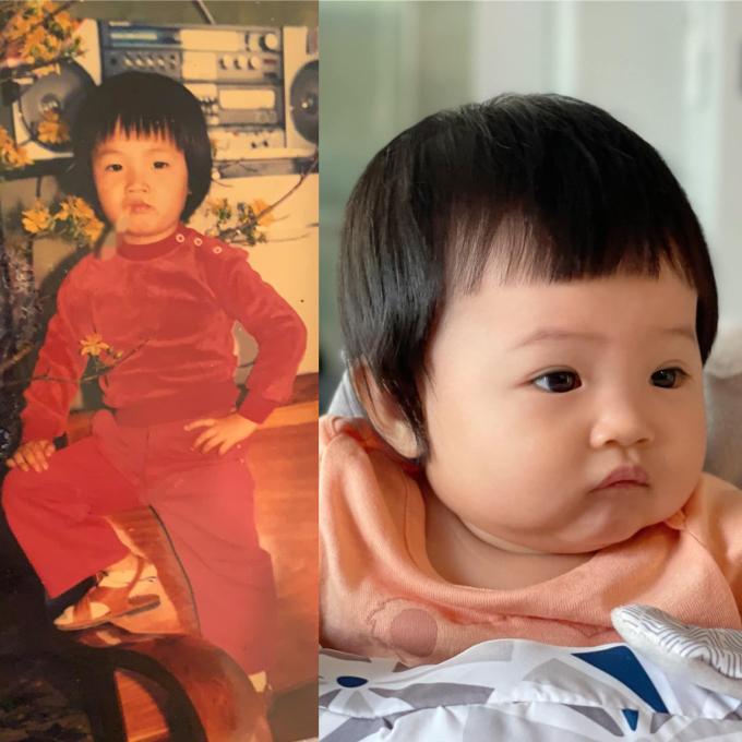 Cường Đôla đăng ảnh thời nhỏ của mình (trái) và con gái Suchin hiện tại ngầm khẳng định thiên thần nhí chính là bản sao y của mình.
