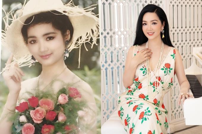 Hoa hậu Giáng My thời con gái và hiện tại tuổi 50 gần như không có sự tác động của thời gian.