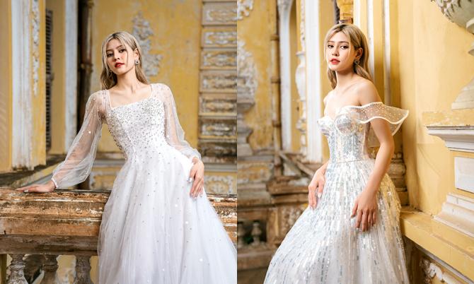 Váy cưới đính đá, kim sa