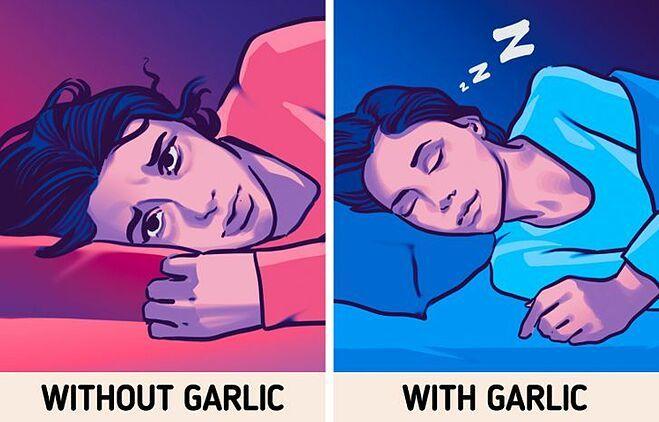 Đặt một nhánh tỏi dưới gối giúp cải thiện chất lượng giấc ngủ.