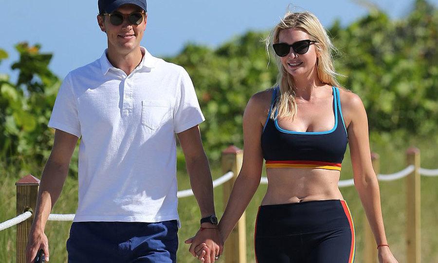 Ivanka khoe eo khi nắm tay chồng đi dạo