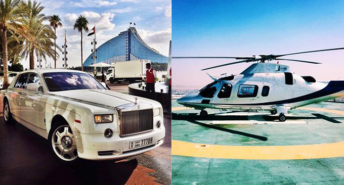 3. Việc đưa đón đến khách sạn bằng ô tô hoặc trực thăng riêngBurj Al Arab cung cấp cho bạn 2 loại phương tiện di chuyển để đến khách sạn. Bbạn sẽ được đón tại sân bay bằng một chiếc Rolls Royce màu trắng, có tài xế riêng. Trên thực tế, Burj Al Arab là khách sạn duy nhất có đội xe Rolls Royce riêng. Nếu không, bạn có thể chọn trực thăng riêng đưa bạn đến sân đỗ trực thăng nằm trên mái của khách sạn.