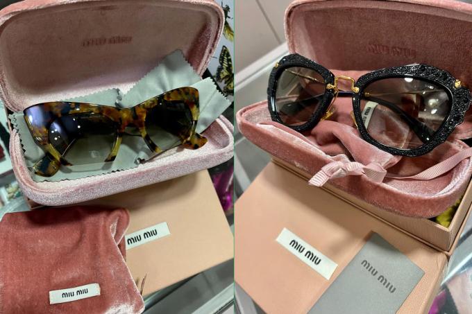 Trúc Diễm bán hai kính mát thời thượng có giá 7 triệu đến từ hãng Miu Miu - một thương hiệu trực thuộc Prada, chuyên về phụ kiện. Một cái có hình dạng mắt mèo cá tính, cái kính còn lại mang phong cách nữ tính với gọng đen ánh kim.
