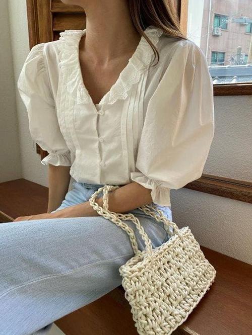 Áo blouse tay ngắn cho mùa hè - 5