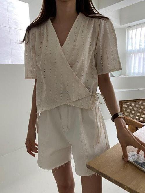Áo blouse tay ngắn cho mùa hè - 3