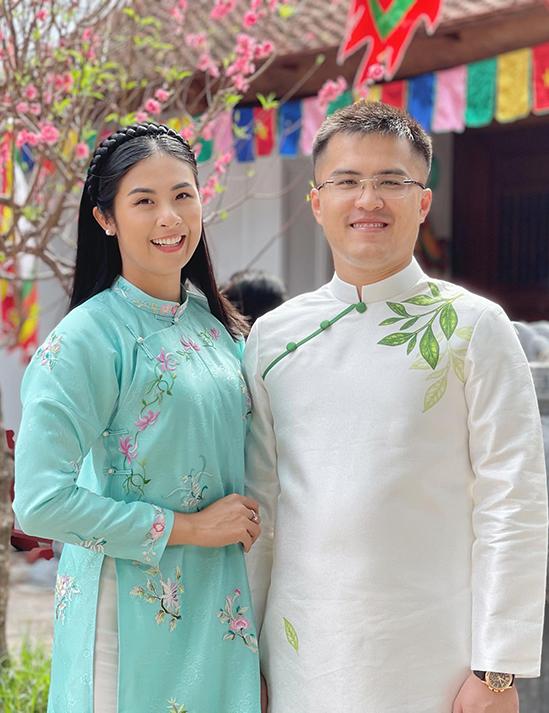 Ngọc Hân và chồng chưa cưới dịp Tết Nguyên đán 2021.