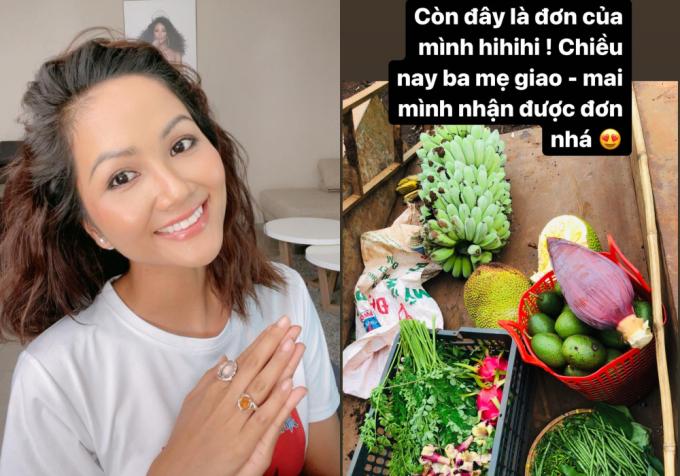 Đợt dịch lần này, HHen Niê không về quê mà ở lại Sài Gòn tham gia các hoạt động thiện nguyện, giúp đỡ người dân. Do đó, thời gian qua, bố mẹ cô ở Đắk Lắk liên tục gửi nhiều thùng hàng là trái cây, rau củ sạch trong vườn cho con gái sử dụng.