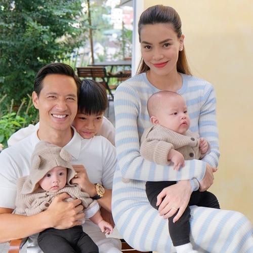Kim Lý hạnh phúc bên bà xã Hồ Ngọc Hà và các con ở hiện tại.