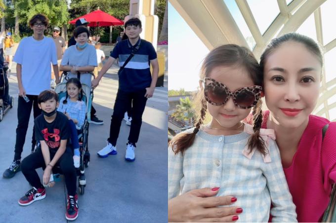 Hà Kiều Anh đưa ba con và bạn bè của con đi chơi ở Mỹ.