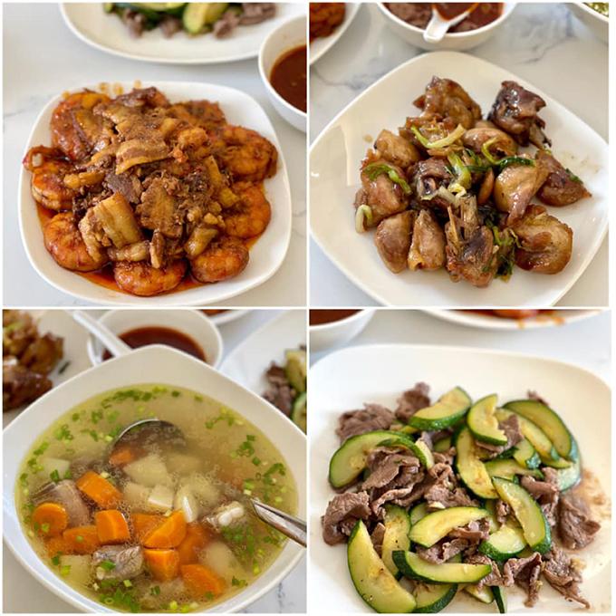 Thực đơn của gia đình Thuý Hằng - Thuý Hạnh đa dạng, thay đổi liên tục. Vì nồi xoong ở khách sạn đều nhỏ nên để nấu đủ cho 8 người nên nhiều lúc, họ phải san ra nấu thành nhiều lần cho một món.