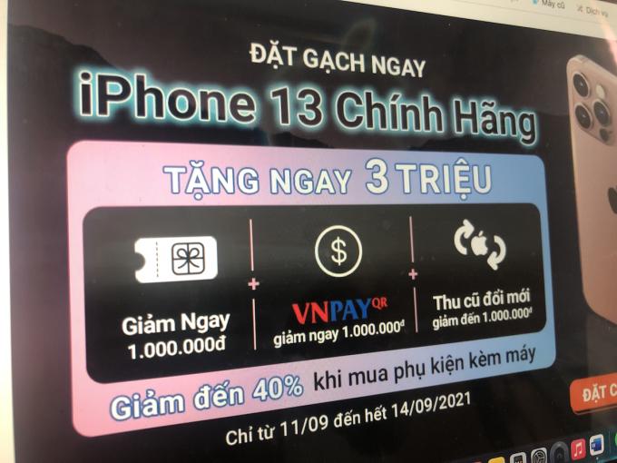 Chương trình nhận đặt trước iPhone 13 của một nhà bán lẻ.