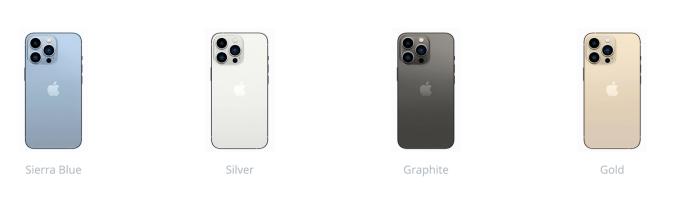 Lựa chọn màu sắc trên iPhone 13 Pro và iPhone 13 Pro Max.
