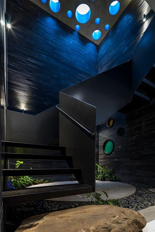 Khu vực cầu thang dẫn lên tầng trên được đan xen với cây xanh.