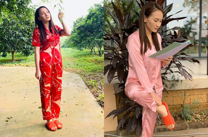 Trong Những ngày không quên, phong cách trung thành với pyjama tiếp tục được Bảo Thanh lựa chọn. Dù chỉ mặc đồ ở nhà, người đẹp vẫn được khen tinh tế, không bị luộm thuộm, nhiều trang phục được khán giả tìm mua theo.