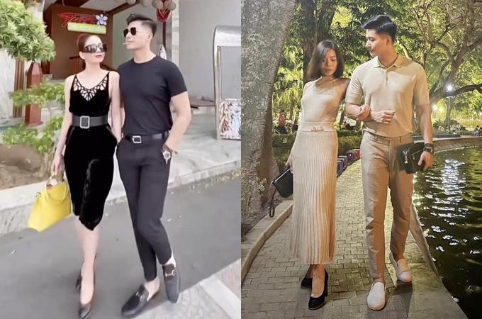Để kéo gần khoảng cách tuổi tác, Lệ Quyên thường chọn trang phục trẻ trung, trong khi đó bạn trai thích những kiểu đồ đơn giản, lịch lãm. Những chi tiết như màu sắc, phụ kiện ton-sur-ton giúp cả hai tạo dấu ấn là cặp đôi sành điệu mới của showbiz Việt.